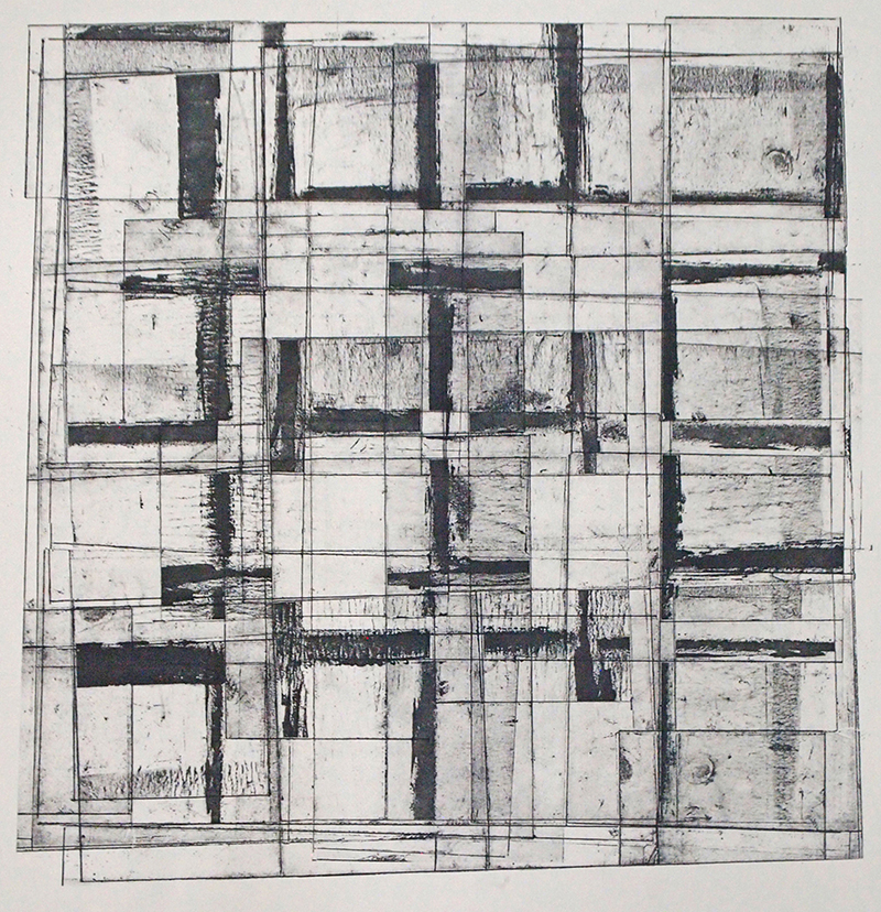 Beth Dorsey   Reused Grids II , 2017 transfer print 15.5 x 15 inches