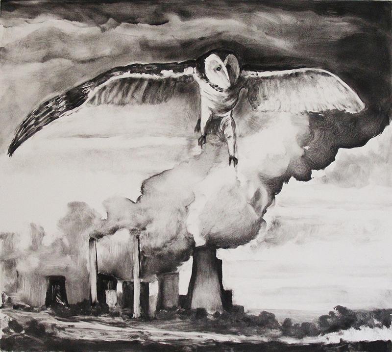 Masha Schweitzer   THE AIR WE BREATHE IX , 2017 monotype 17 x 19.5 inches