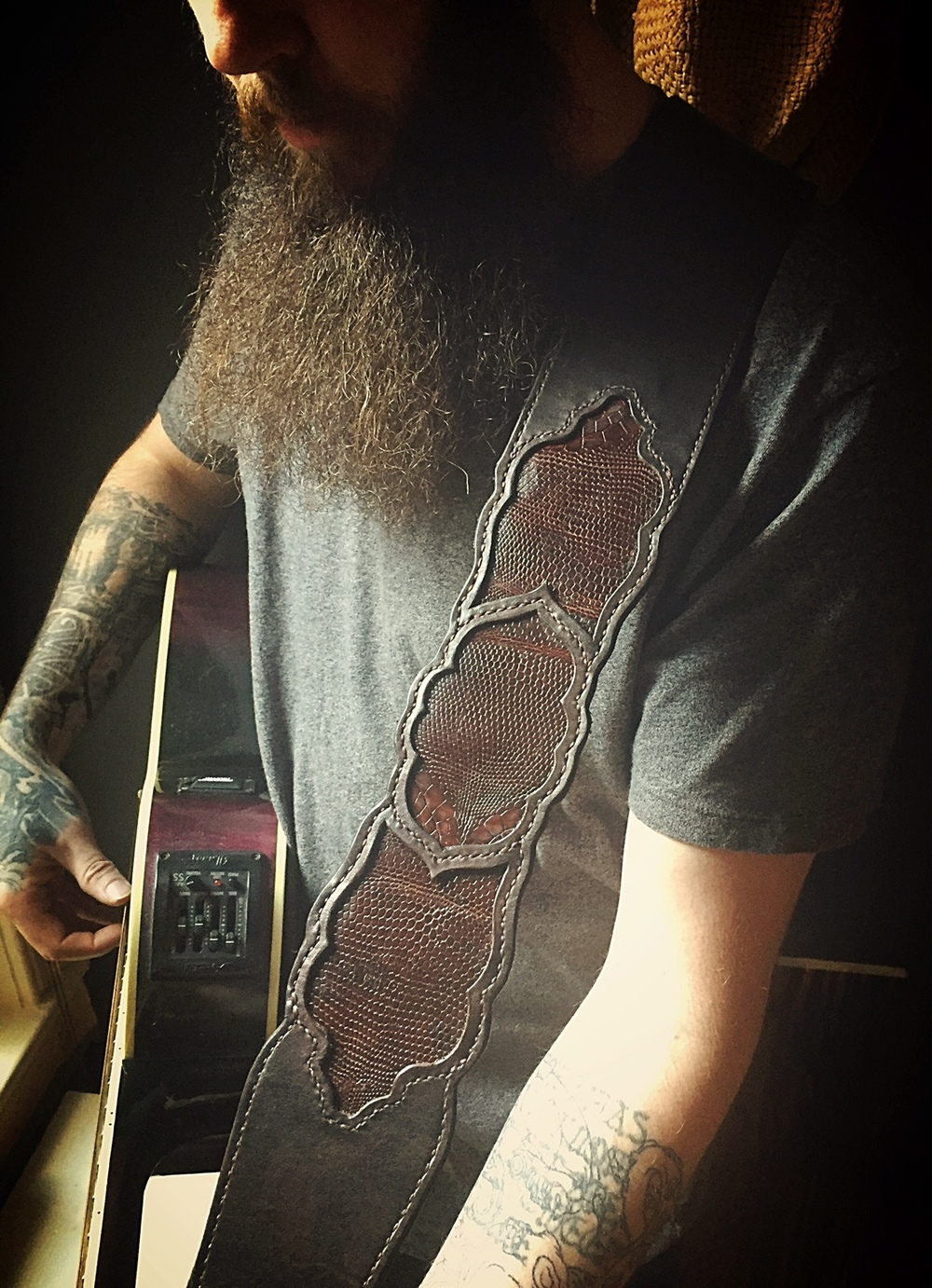 Lizard Skin Inlay Guitar Strap