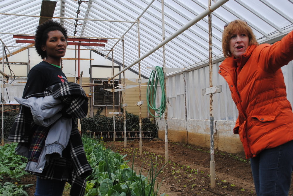 2 students learning about the Enright Ridge CSA Greenhouse