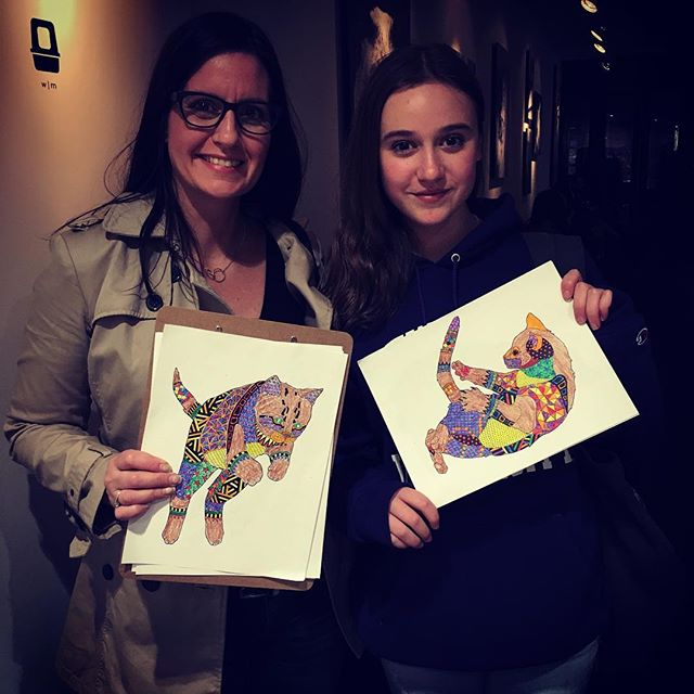 Happy people at @konekonyc 's coloring night! Fun!