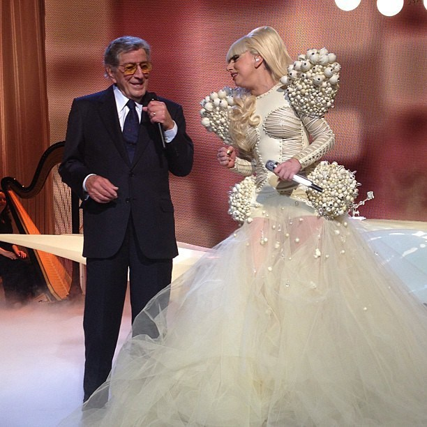 With Lady Gaga and Tony Bennett, 2013 Inaugural Ball