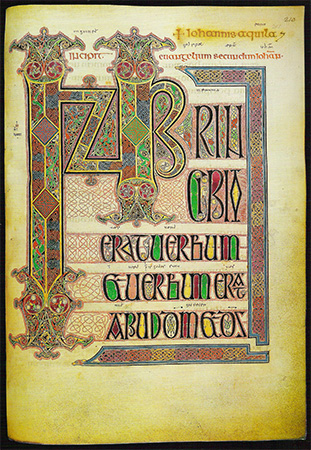 From the Lindisfarne Gospels, circe 700 A.D.