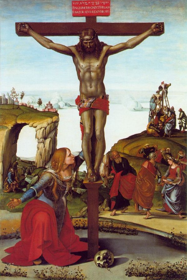 The Crucifixion with St. Mary Magdalene  by Luca Signorelli, 1490, location Florence, Italy