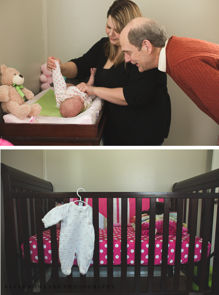 changing baby and baby's crib