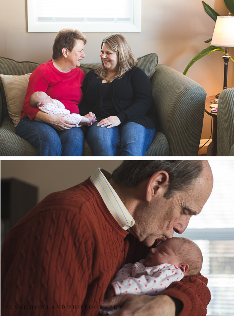 grandparents with daughter and newborn