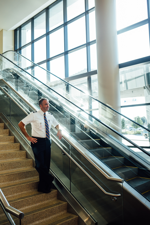 man on stairs at Kalamazoo/Battle Creek International Airport