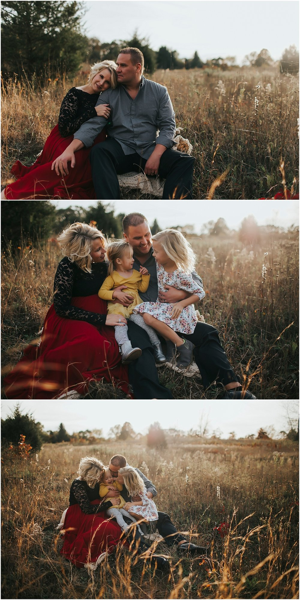 fall family photo session in field