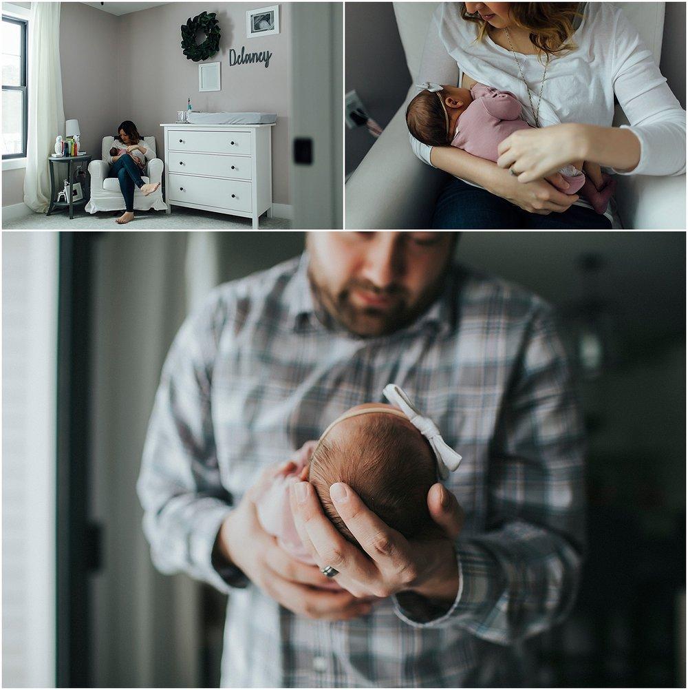 mom nursing daughter, dad holding newborn