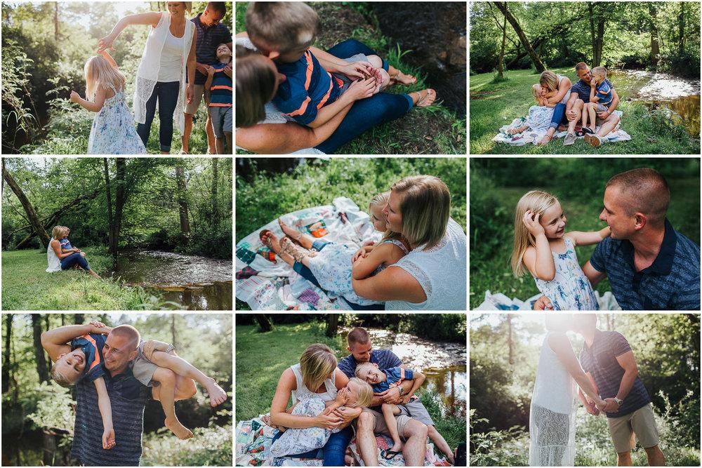 playful lifestyle family session by creek near kalamazoo, michigan