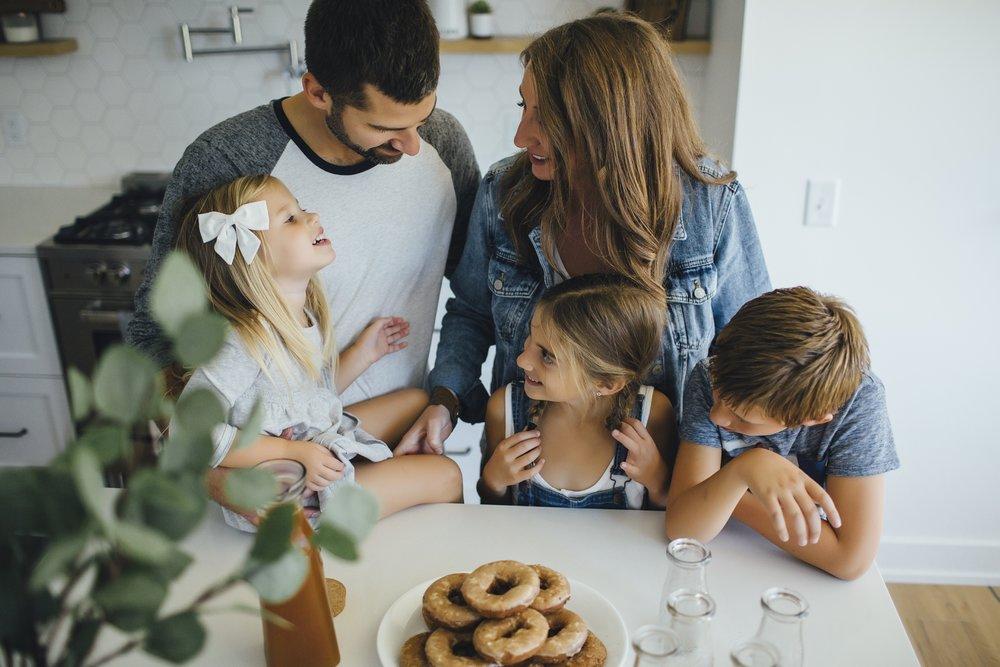 family in all white kitchen near kalamazoo mi