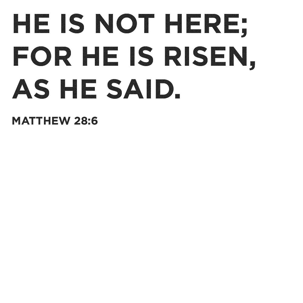 He is Risen - matthew 28:6