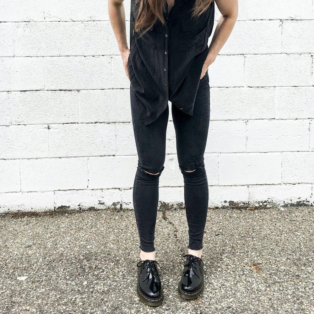 Equipment Silk Blouse, Frame Le Skinny High Jeans, Kristiina Taylor Camille Bag, and Dr. Martes 1461 - taylorkristiina.com