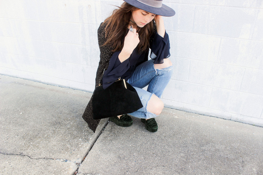 Janessa Leoné Cherina Hat, Vintage Jacket, Loft Peplum Top (old), Citizens of Humanity Liya Jeans, Balenciaga Loafer Wedges, and Kristiina Taylor Stella Handbag.