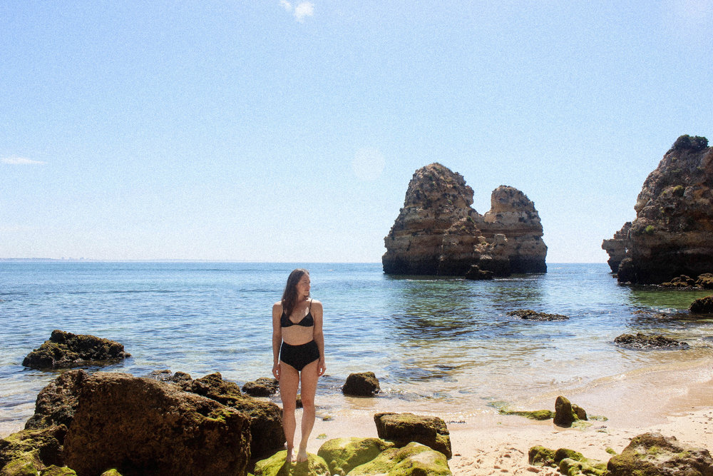 Lagos, Portugal Travel Diary - taylorkristiina.com- Wearing Matteau Swim Petit Triangle Top and High Waist Brief.