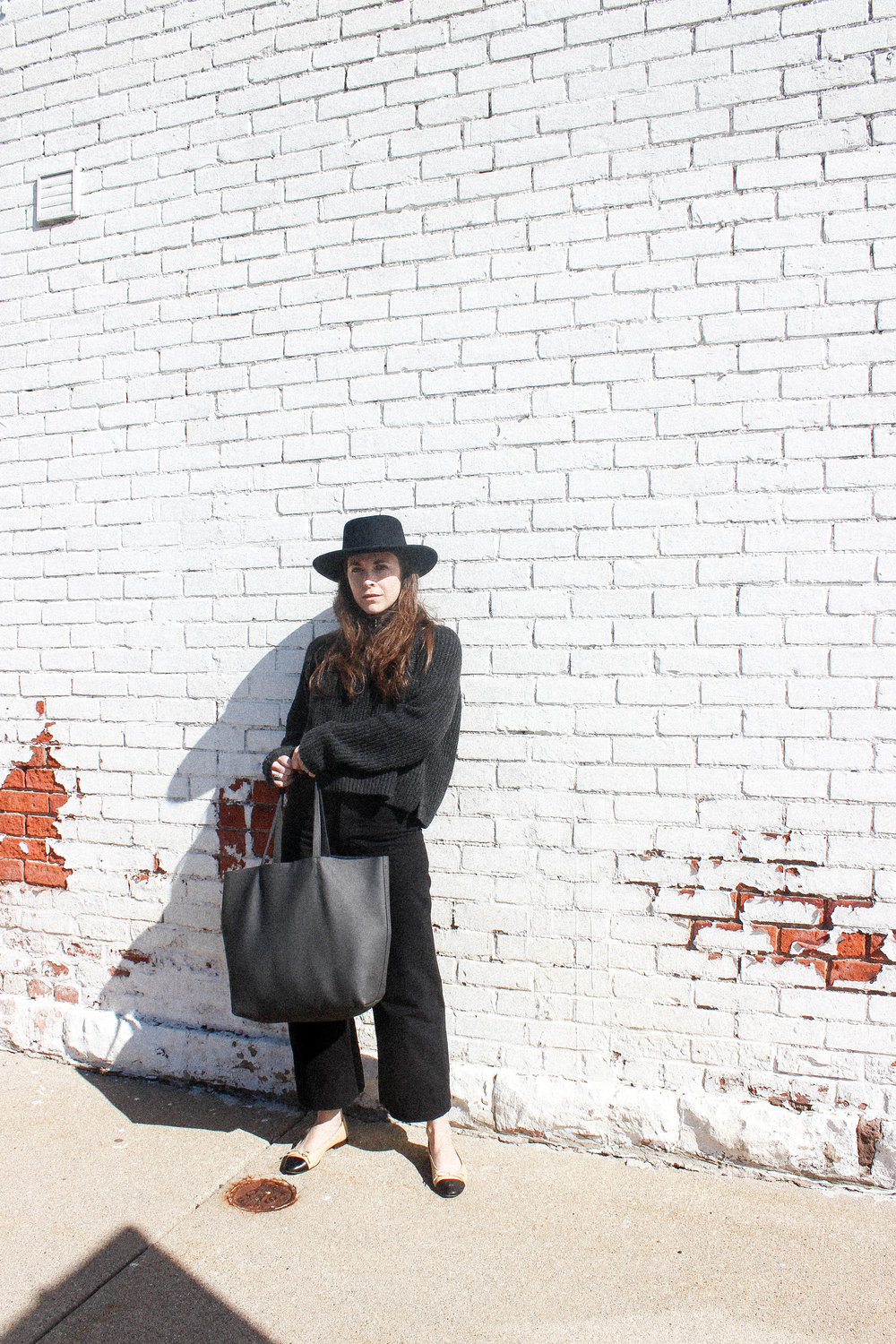 Tio y Tia Gamber Hat, Ayr Sweater (similar), Ozma of California Mock Neck Tank, Jesse Kamm Sailor Pants, Kristiina Taylor Leather Tote Bag, and Chanel Classic Ballet Flats. - TAYLORKRISTIINA.COM