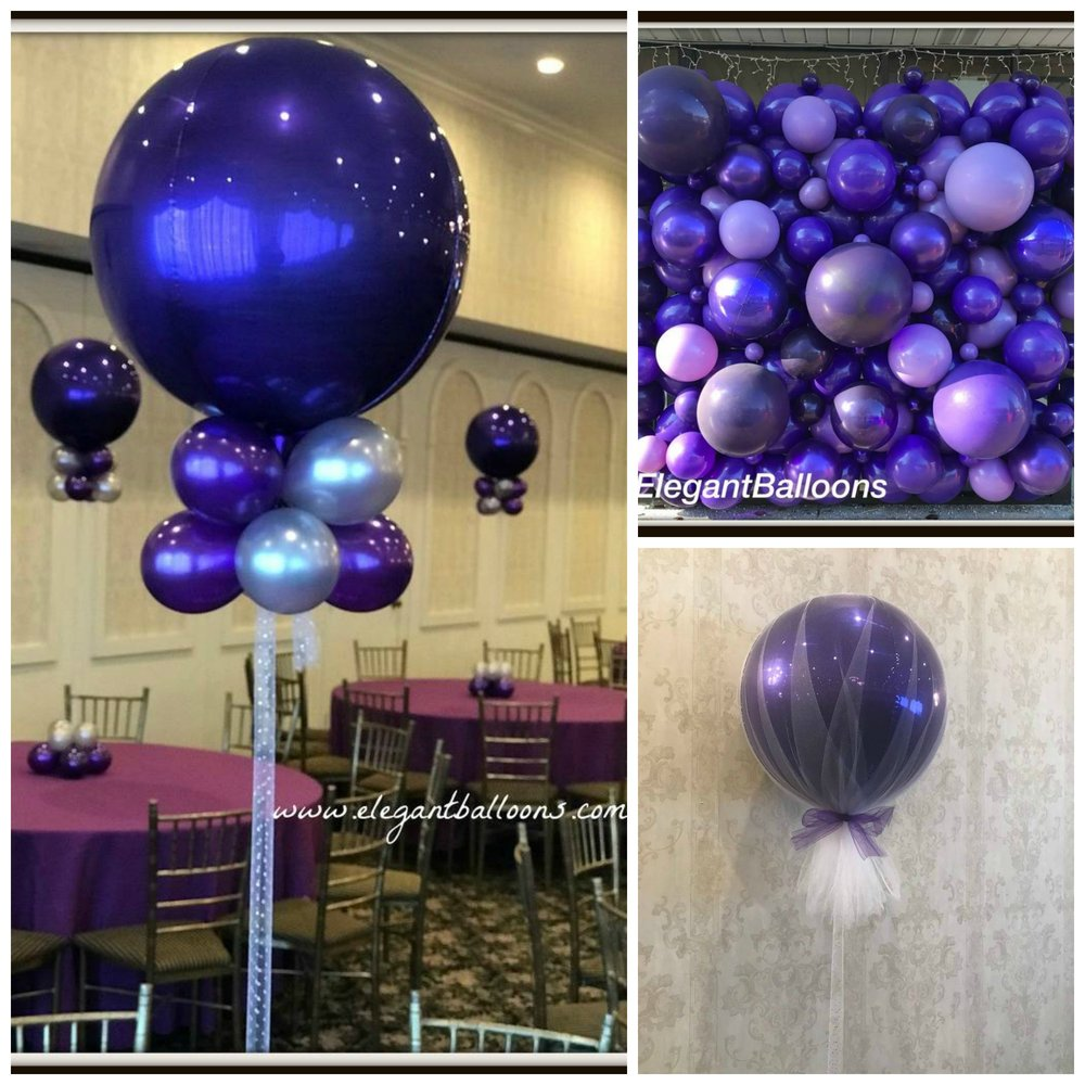 pretty purple orb and balloon wall
