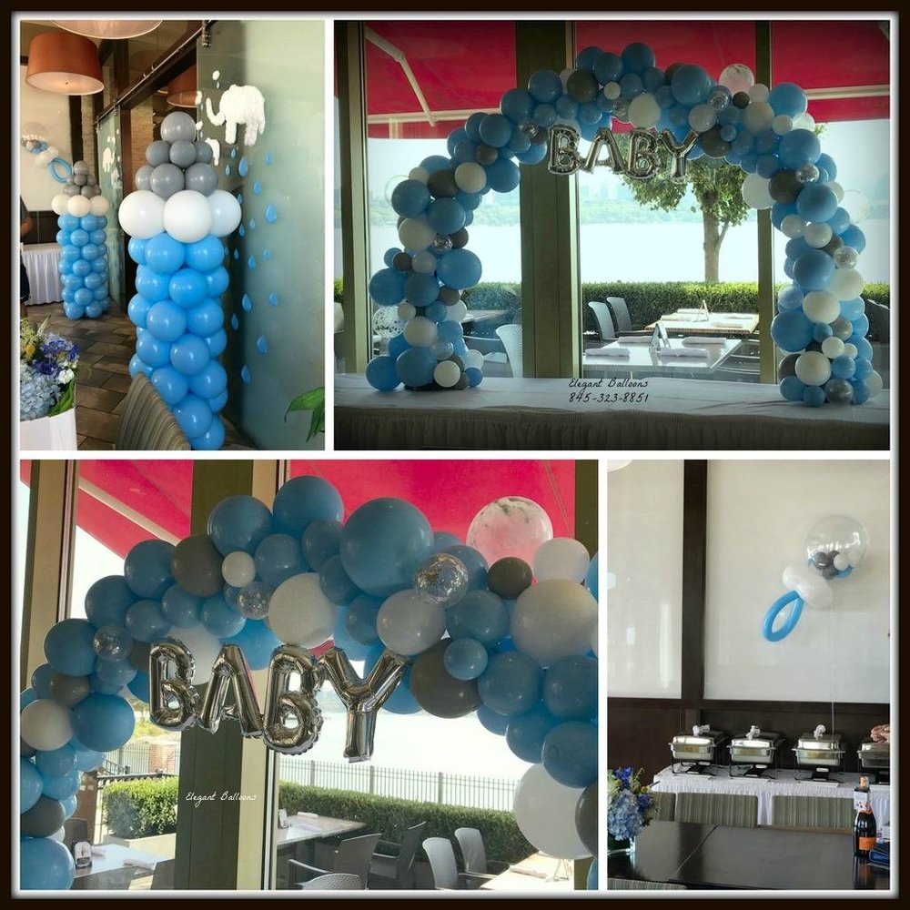 Elephant Themed Organic Style balloons baby shower