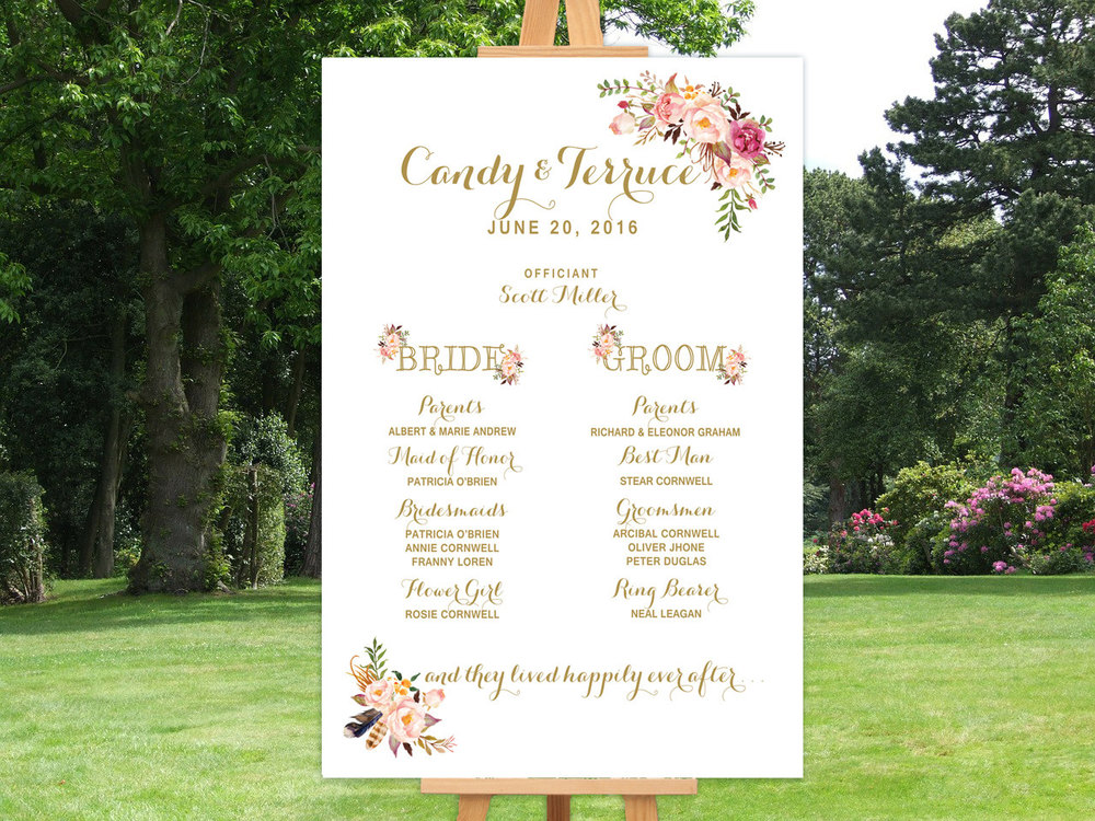 Custom Wedding Program Signage Digital File from Etsy Seller MomentiDesignStudio, $32.75