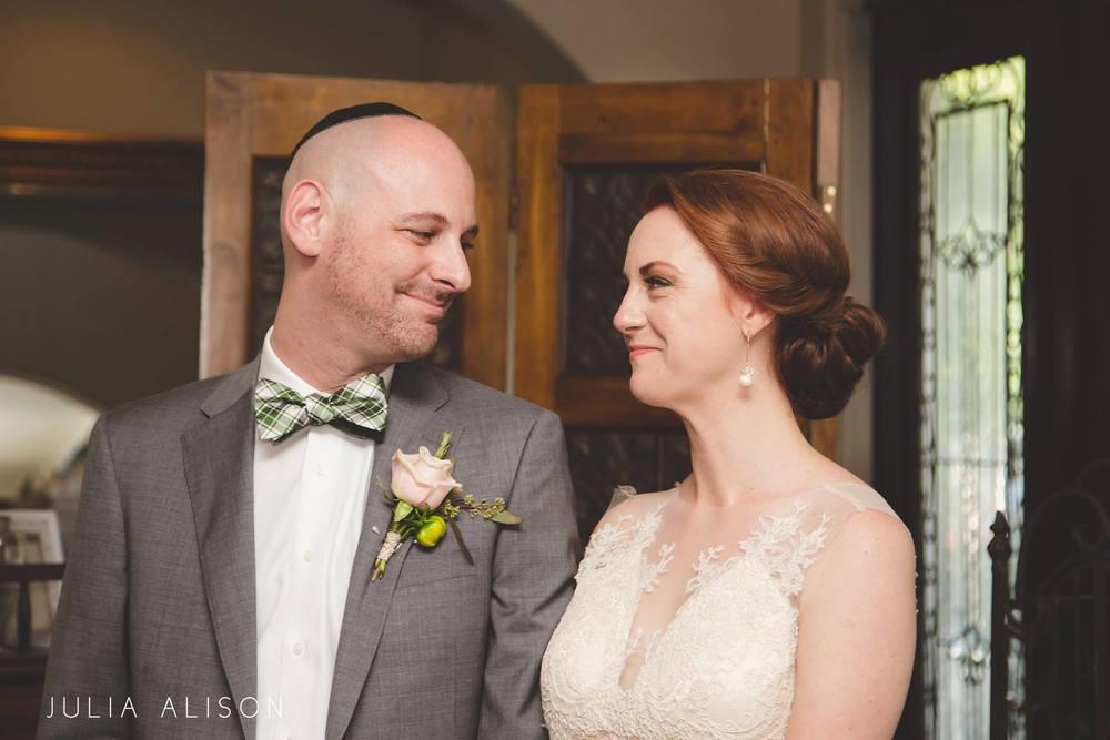 jewish wedding bride and groom boutonniere rose wildwood inn denton texas