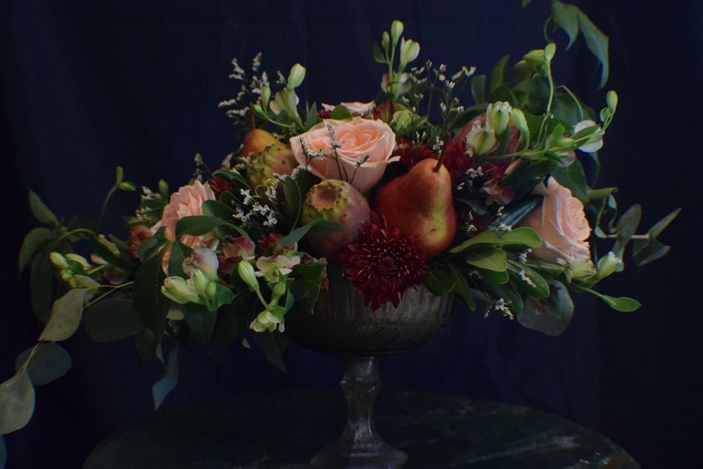 Little Wedding Extras compote bowl wedding centerpiece with pears, roses, and cactus pears,