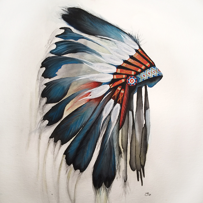 "18""x24"" Watercolor: War Bonnet, 2017"