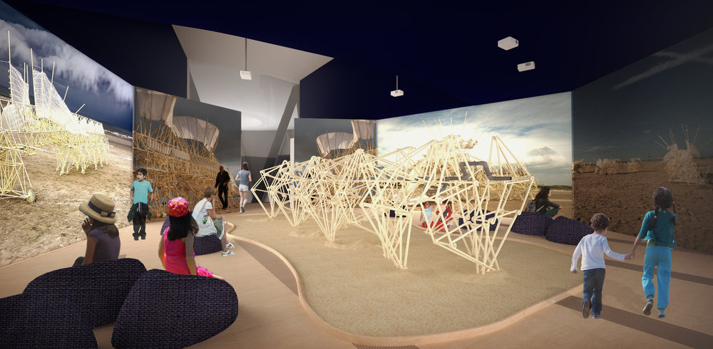 Visitors transition from the grand entrance into an immersive screening room where three large moving projections surround the centerpiece fossil of Animaris Sabulosa Cutis. Resting in its sandy grave; visitors will be introduced to the habitat in which the Strandbeest originate. The juxtaposition of the living Strandbeest and the resting fossil of Animaris Sabulosa Cutis provides the visitors with an immediate sense of the Stradbeest life cycle, materiality and complexity. Visitors have the option to rest of the provided low ceiling to admire the Animaris Sabulosa Cutis' or be immersed in the moving projections showing the Strandbeest in full motion surrounded by the sights and sounds of their habitat. Visitors will be left with a thirst to understand more about these creations and who is the mind behind the majestic Strandbeest.