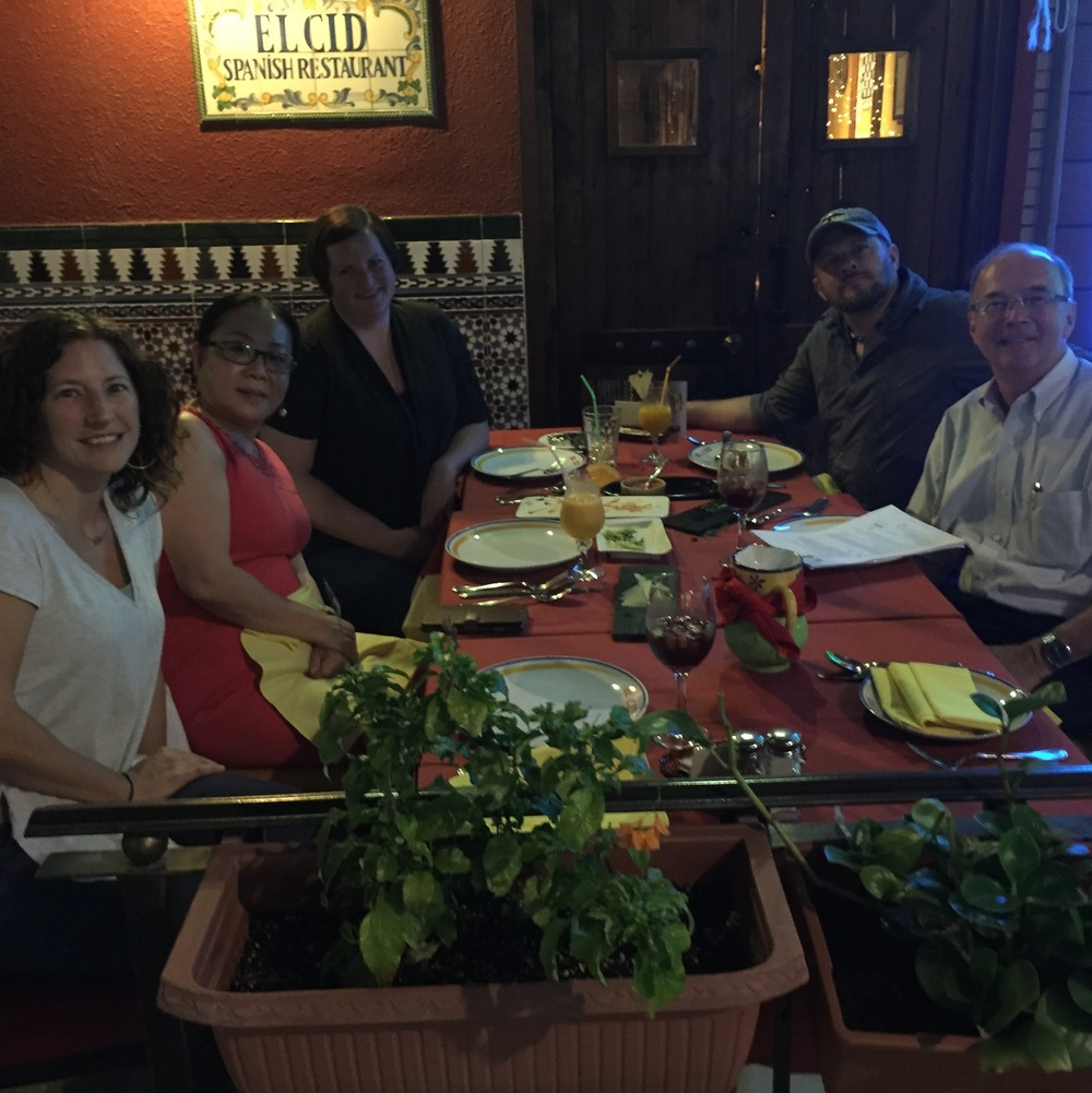 For my first night in China we went to El Cid for tapas. Surprising, huh? I thought for sure we would get Chinese food but completely enjoyed the food and atmosphere of this little gem that was tucked away down an alley on a hill in Kowloon. Loved it!!!  Pictured in the photo from left to right: Me, Valeria, Betsy Coy (designer), Jeff Goodsell (my coworker), and Lamar Thompson (the owner of the factory hosting us).