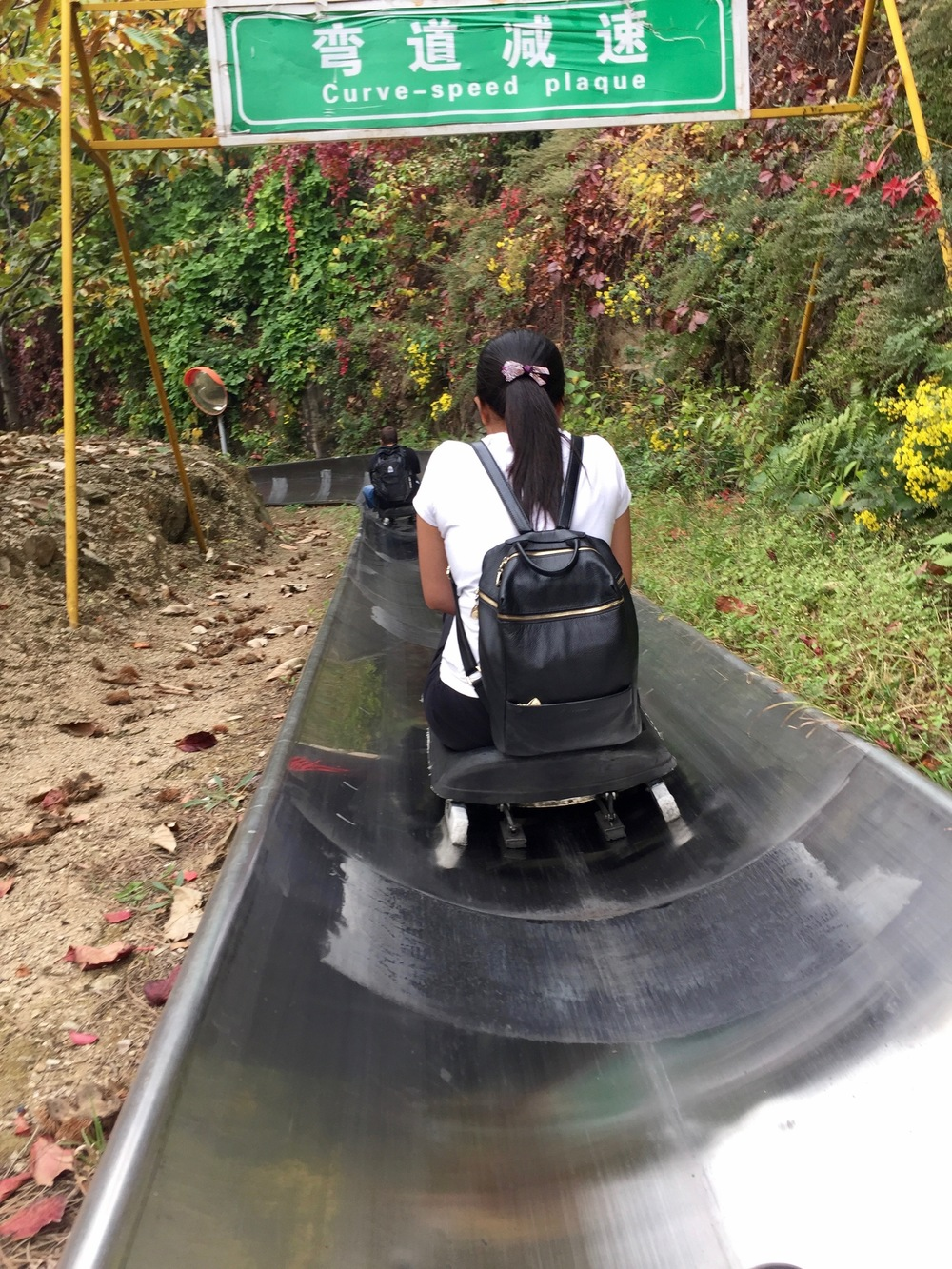 Instead of hiking down we chose to take the bobsled. How fun!