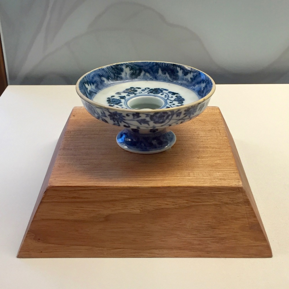 Blue and White Stem Plate  Yongle Emperor's Reign (1403-1424), Ming Dynasty