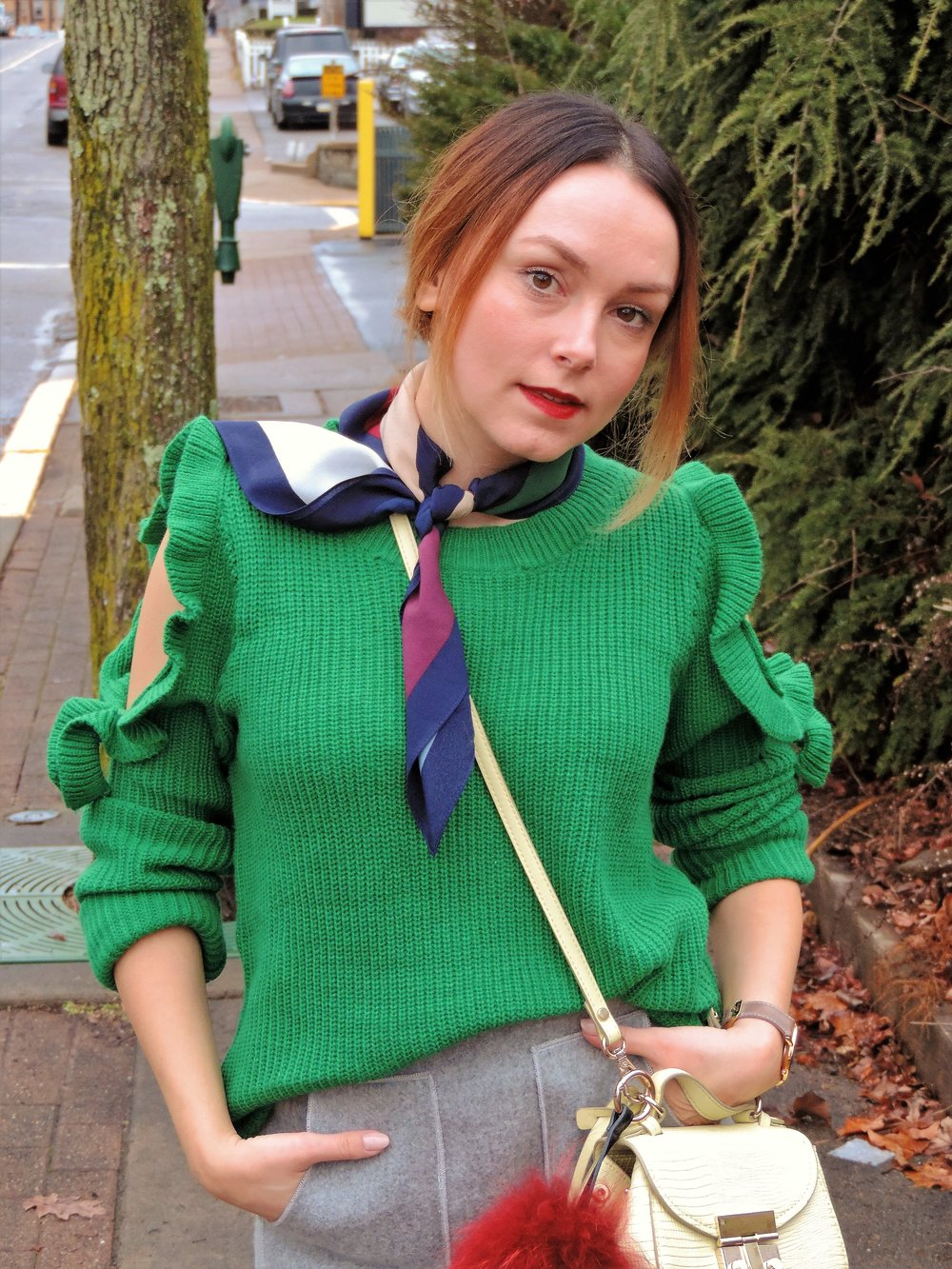 My red lip also helps to balance the green of the sweater.