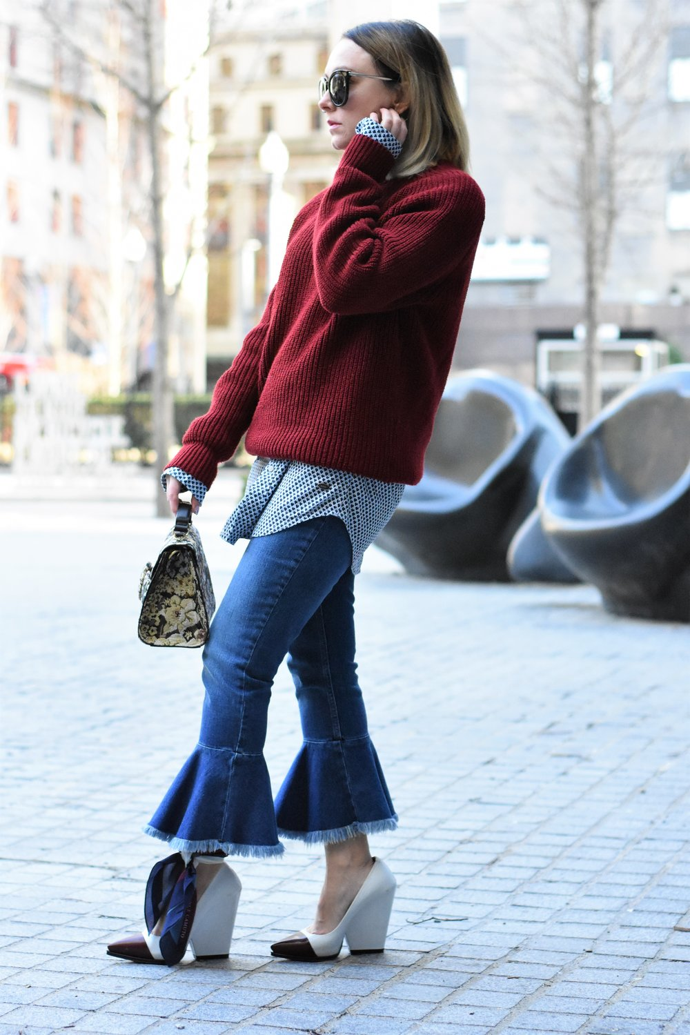 how to wear flared crop jeans