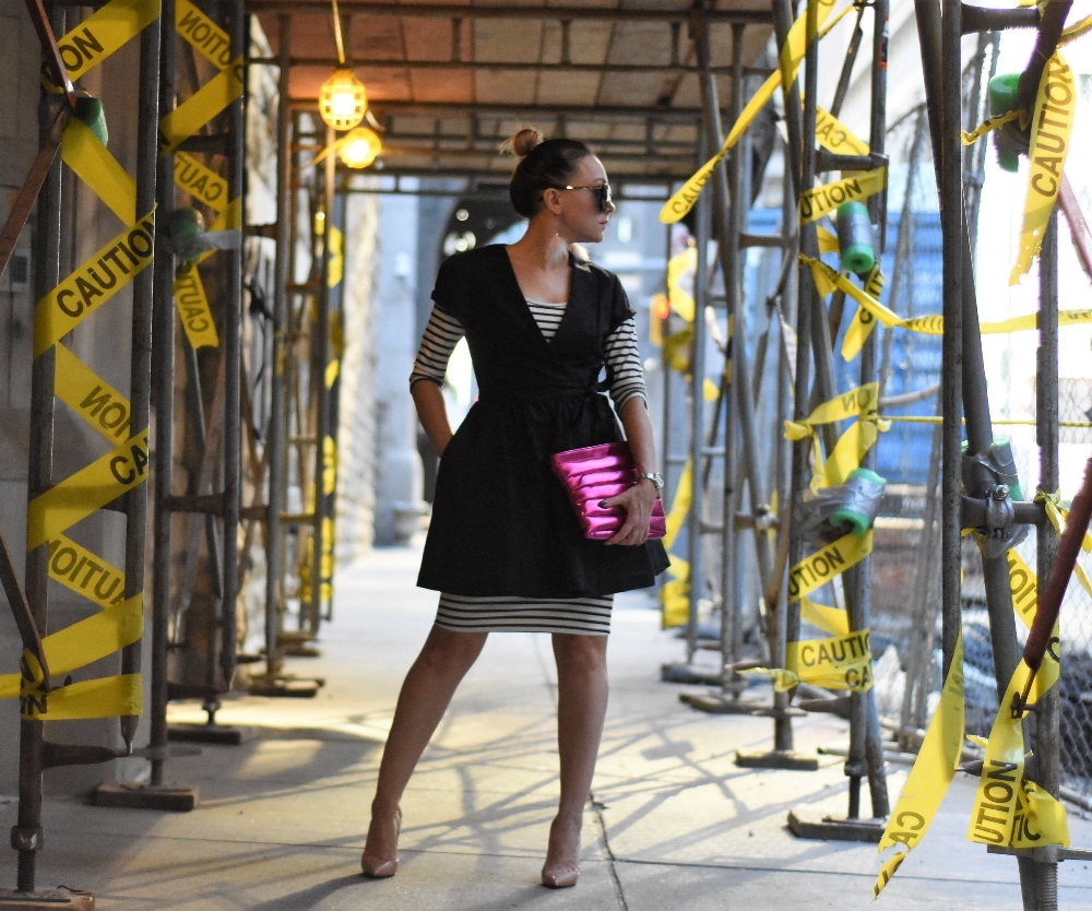 fashion blogger in construction zone