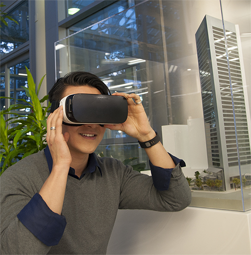 The Samsung Gear VR (shown above) allows for mobility, but the computer powered HTC Vive and Oculus Rift (not shown) allows for significantly more interactivity with the virtual environment and allows for movement around the room. The latter usually is preferred by prospects.