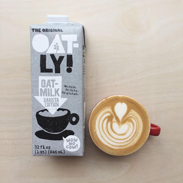 Are you like us & lactose hurts your belly? Not a fan of almond milk? We just got this awesome product in! @oatly is dairy free, gluten free, & nut free. It pairs incredibly well with our espresso & we can make pretty art with it. Cruise in & try a cap or cortado with it! 🙌🏼🙌🏼 || #portlandcoffee #damngoodcoffee #foxycoffeeco #lattefart #milkalternatives #thisshitisballer