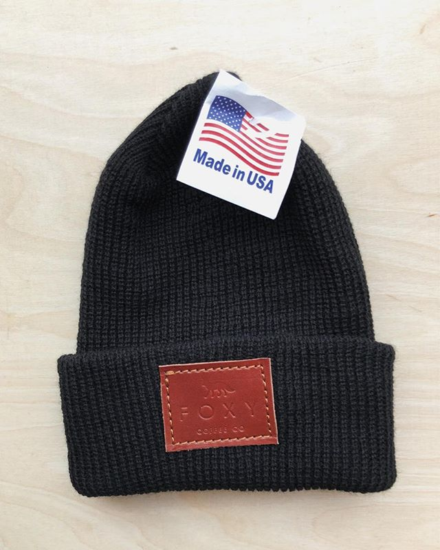 As if those sweatshirts & T's weren't enough, we got these super sweet USA made beanies with leatherwork from @farrowco . Come pick one up and keep your noggin warm. #foxycoffeeco #foxyapparel #damngoodcoffee