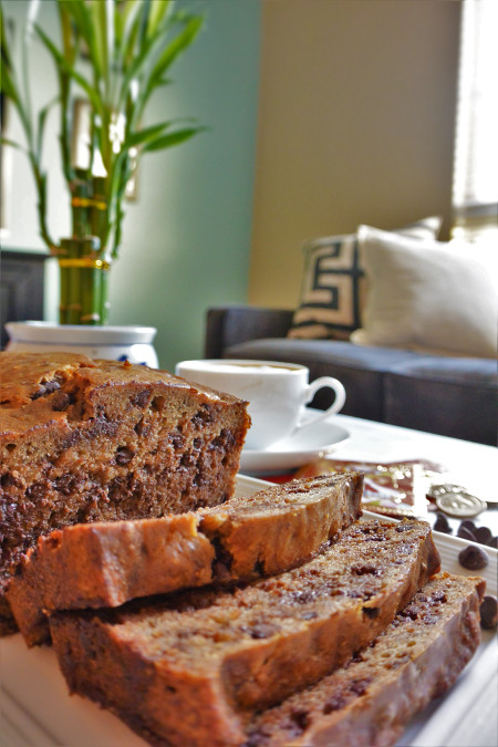 Banana-yee bread paired with a hot cup of Illy cappuccino