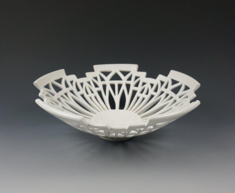 White Art Deco Bowl