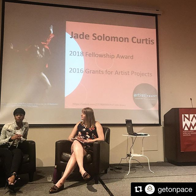 """#Repost @getonpace (@get_repost) ・・・ Congratulations to our Artistic Director @jade_solomon_ for being awarded the 2018 Fellowship Award from @artisttrust to support her innovative work """"Black Like Me: Exploration of the word NIGGER"""" which is from our flagship arts initiative @solomagicorg #getonPACE #poweredbyPACE #solomagic"""