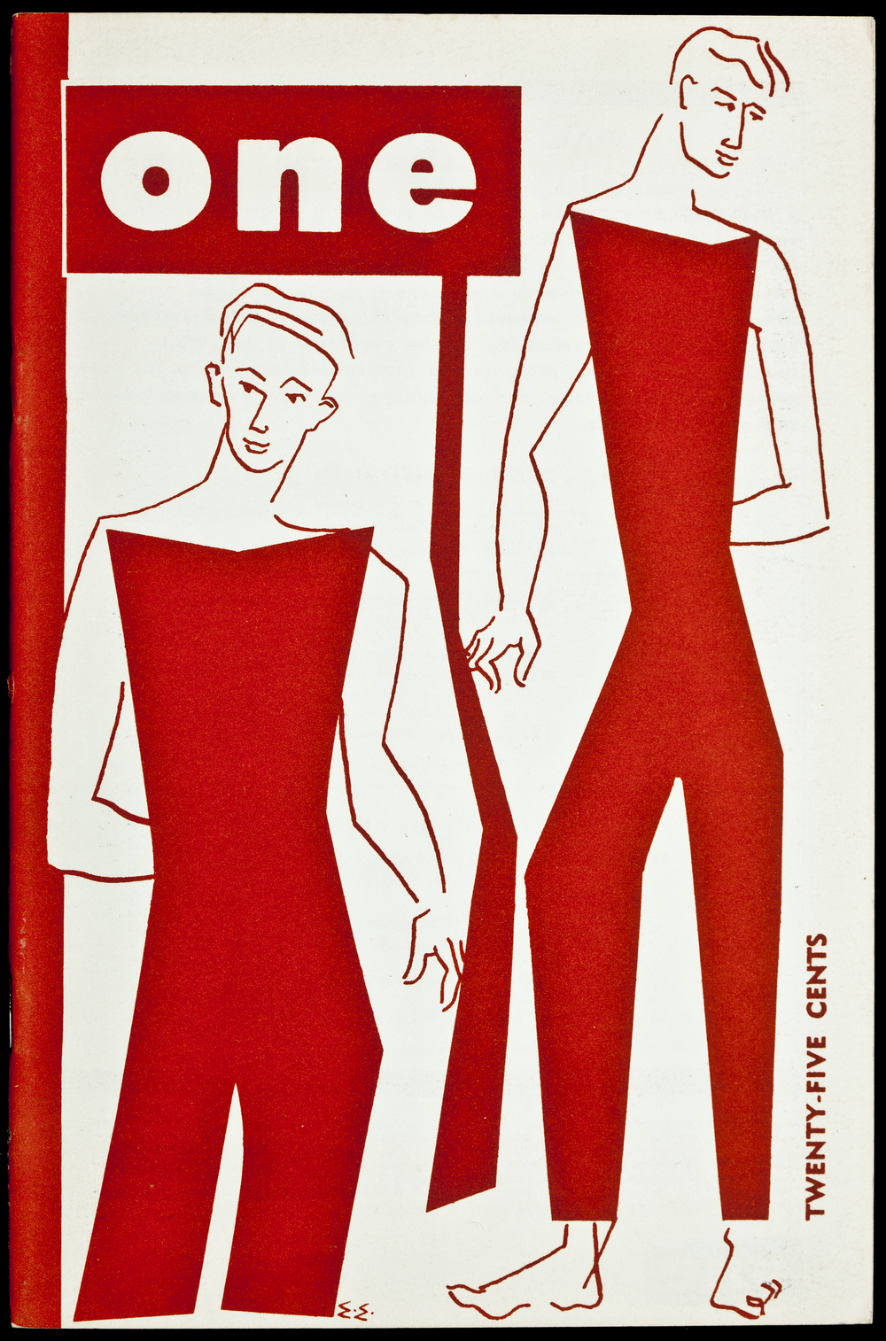 The cover of ONE Magazine's July 1955 issue, drawn by the publication's primary illustrator Joan Corbin, better known by her pseudonym Eve Elloree. Her girlfriend, Irma Wolf, also known as Ann Carll Reid, was ONE's chief editor from 1954 until 1957. Courtesy of the ONE Archives at the USC Libraries.