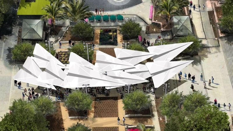 Paper planes will soar above Grand Park, offering shade, starting in a few months. (photo via Grand Park)