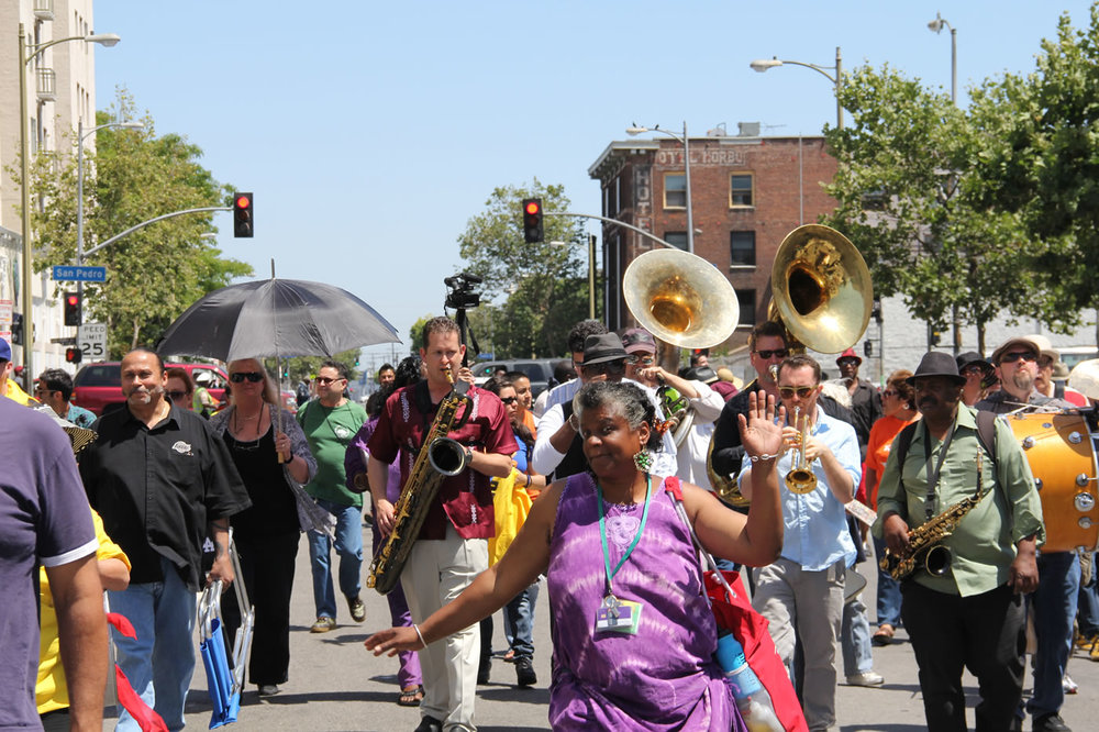 "Satisfy Memorial Day Weekend parade yearnings with the biennial Skid Row ""Walk the Talk"" celebration on Saturday May 28. (Photo via LA Poverty Department)"