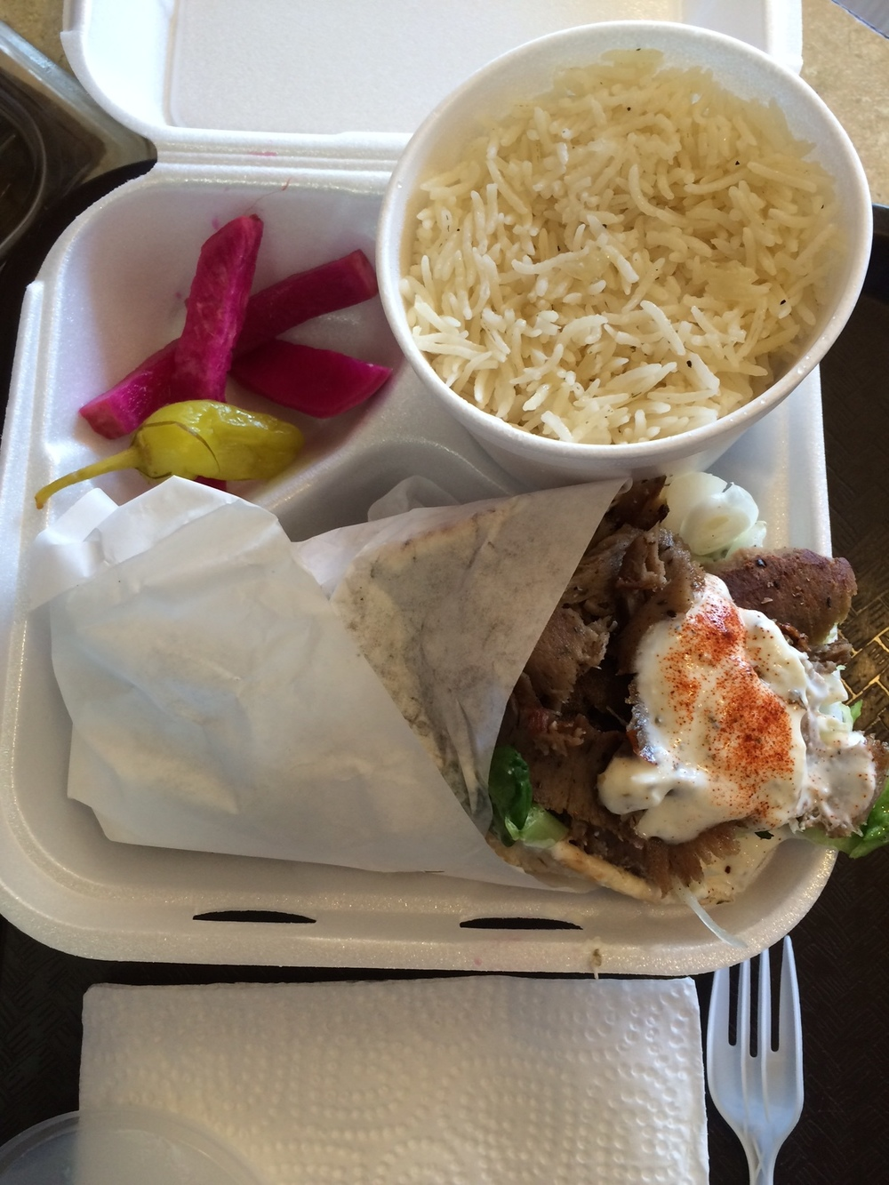 Tender shawerma, rice pilaf and pickled vegetables for $6.27. Photo by Dan Johnson.