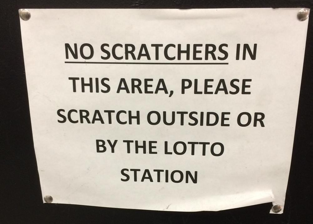 Scratch ticket shavings don't taste great. Photo by Dan Johnson.