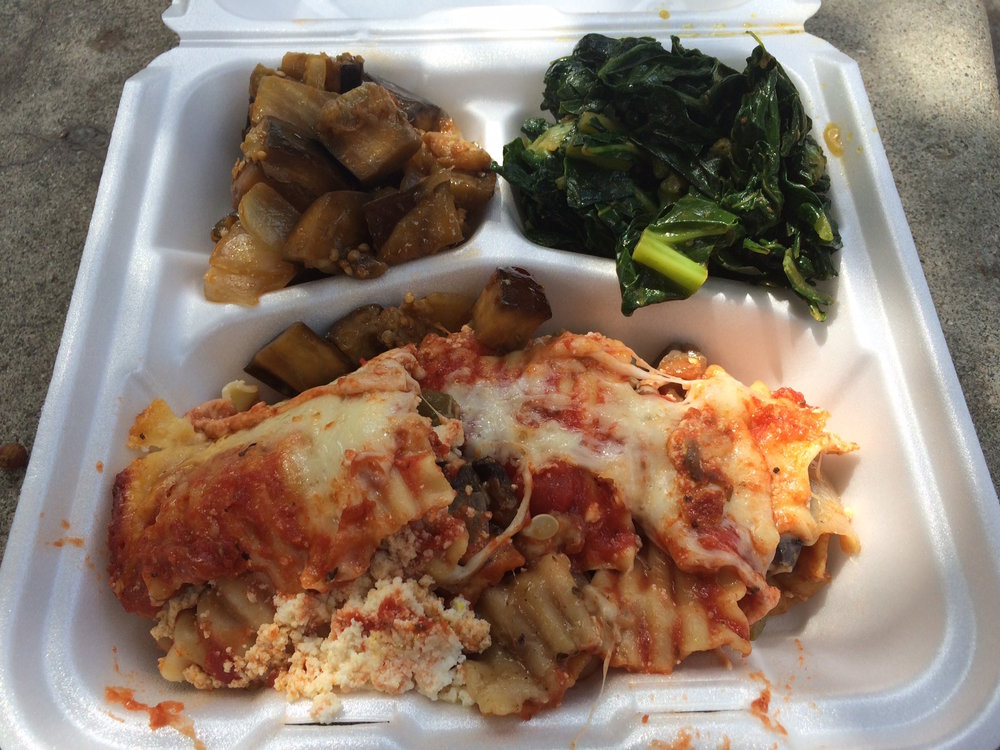 It's hard to beat the high quality cheese ooze in the veggie lasagna from the LATTC's cafeteria. Photo by Dan Johnson.