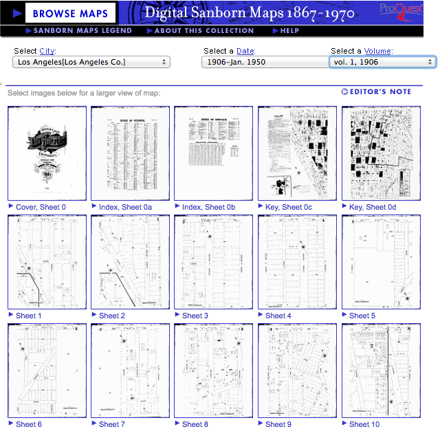 Examples of the meticulously constructed Sanborn maps of Downtown Los Angeles. Photo courtesy of Los Angeles Public Library.