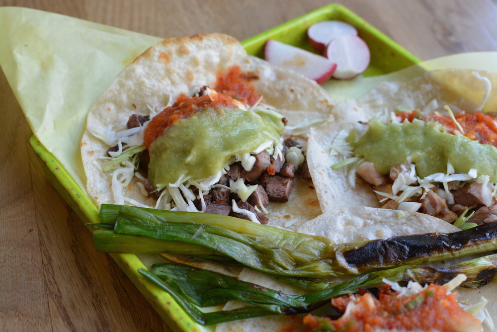 Carne asada tacos on handmade flour tortillas at Sonoratown in the Fashion District. (Photo via Eater LA)