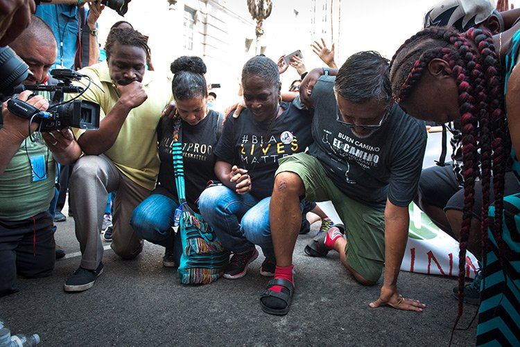 Black Lives Matter - LA leaders and activists at the encampment outside City Hall and a block from LAPD headquarters. (Photo via The Advocate)