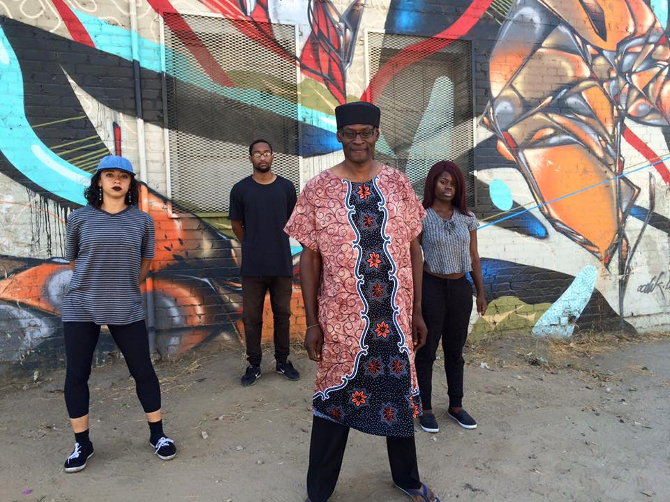 """Collins and dancers (Shantel, Xavier and Dominique)on the set of his music video for """"Africa ."""" Photo courtesy of the artist."""