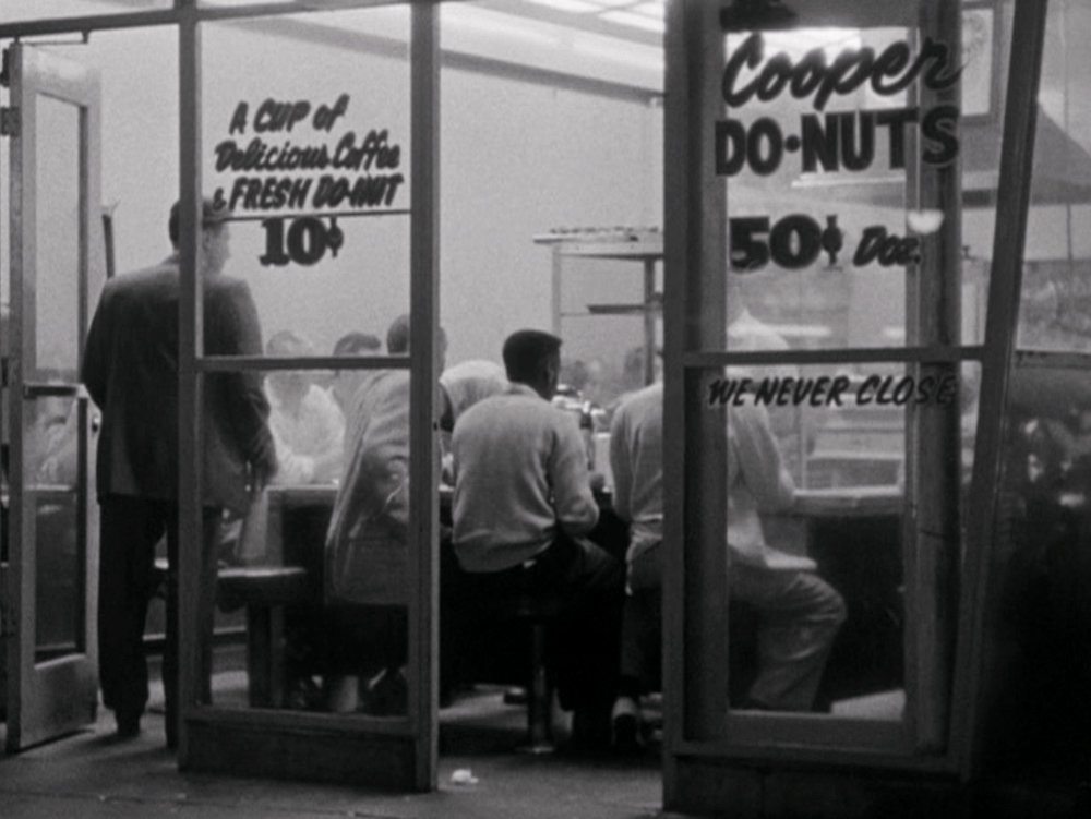 Cooper Do-Nuts in (image via Kent MacKenzie's film The Exiles (1961)